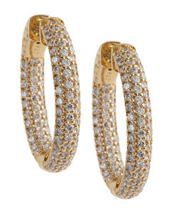 Image of Kara Ackerman <i>Talulah <i/> Small Vermeil Micro Pave Set Hoops in Yellow