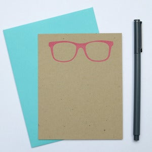 Image of pink nerd glasses note card