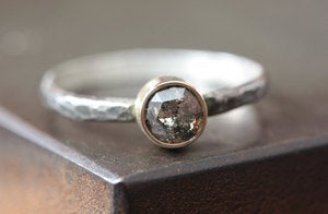 Image of Natural Silvery-Grey Rose Cut Diamond Ring