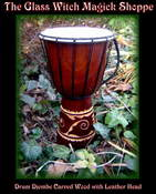Image of Drum Djembe Carved Wood with Leather Head (BE)