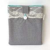 Image of ipad case - grey dot with lace