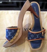 Image of Louis Vuitton Denim Monogram Mules Brand NEW SZ 40