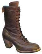 Image of No.0018 CROSSWALK tall lace-up boot Brown