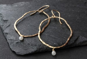 Image of Organic Raw Diamond Hoop Earrings