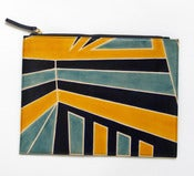 Image of DAZZLE ZIP CLUTCH indigo, yellow and blue