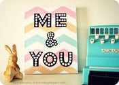 "Image of ""ME & YOU"" pastel Chevron wood mounted print PLAQUE"