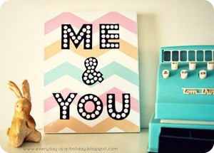 Image of &quot;ME &amp; YOU&quot; pastel Chevron wood mounted print PLAQUE