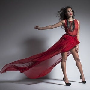 Image of Red Sheer Chiffon Gown