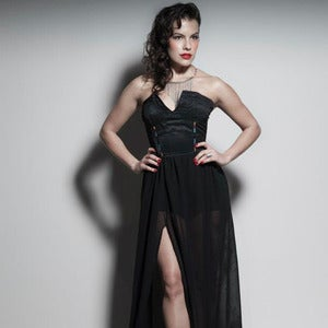 Image of Black V-Neck Gown