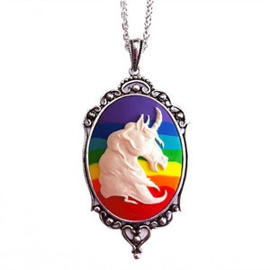Image of Rainbow Unicorn Cameo Necklace