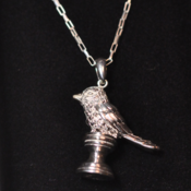 Image of Sterling silver bird wax seal pendant