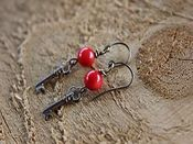 Image of Key and Coral Earrings