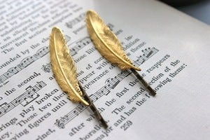 Image of Feather Hair Pins - Golden