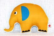 Image of Large Yellow and Blue Elephant Cushion (large)