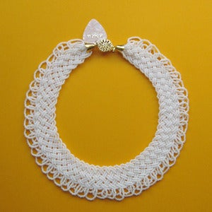Image of Vintage Beaded White Round Collar Necklace*£5 Off*