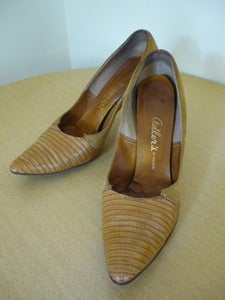 Image of 50s lizard & suede pumps