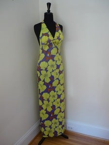 Image of 70s flower print maxi halter dress