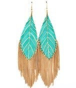 Image of Leaf Tassel Earrings