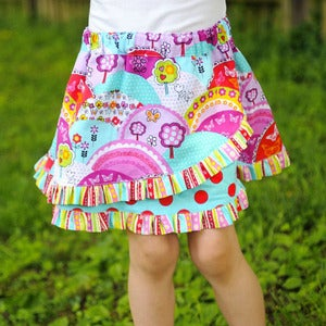 Image of The RufflePOP! Skirt Pattern PDF Euro Style Skirt Girls 2 - 8