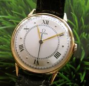 Image of VINTAGE OMEGA SOLID 18K ROSE GOLD MANUAL w/ROMAN NUMERAL DIAL- SOLD!