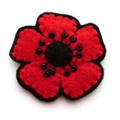 Image of Small Red Poppy Brooch