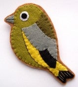 Image of Greenfinch, Felt Bird Brooch