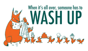 Image of WASH UP teatowel