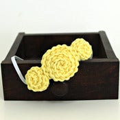 Image of Three Rosette headband in Pale Yellow