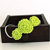 Image of Three Rosette headband in Light Lime Green