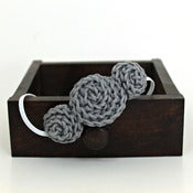 Image of Three Rosette headband in Light Steel Grey