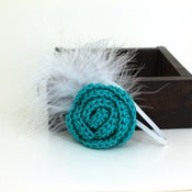 Image of Rose Feathered Elastic Headband in Dark Teal