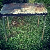 Image of Vintage Chippy Black and Yellow Folding Table