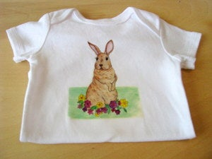 Image of Baby Bunny Rabbit with Flowers, One Piece Bodysuit, Short Sleeve, Baby,  Nursery