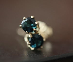Image of Blue Sapphire Stud Earrings in 14kt Gold