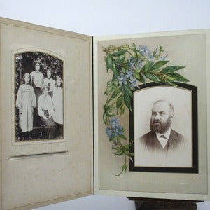 Image of victorian photo album 1880's - with pictures (ornate)