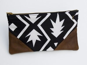 Image of -S O L D O U T- a large black+white graphic print zip clutch with leather corners + a METAL zipper
