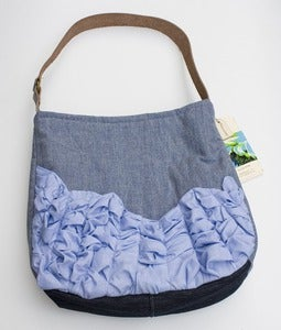 Image of - S O L D - a tough ruffles shoulder bag in slate blue + chambray
