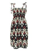 Image of Fair Trade Print Ruched Sun Dress Black White