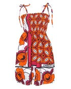 Image of Fair Trade Print Ruched Sun Dress Red