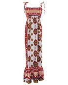 Image of Fair Trade African Print Maxi Dress White