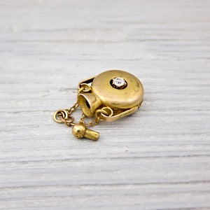 Image of Antique Gold Diamond Perfume Bottle Pendant