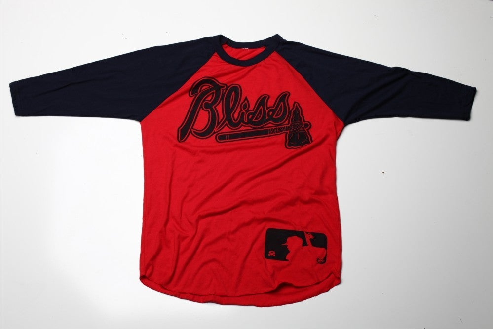 Image of Bliss Braves 3/4 Sleeve Raglan Tee (Navy/Red)