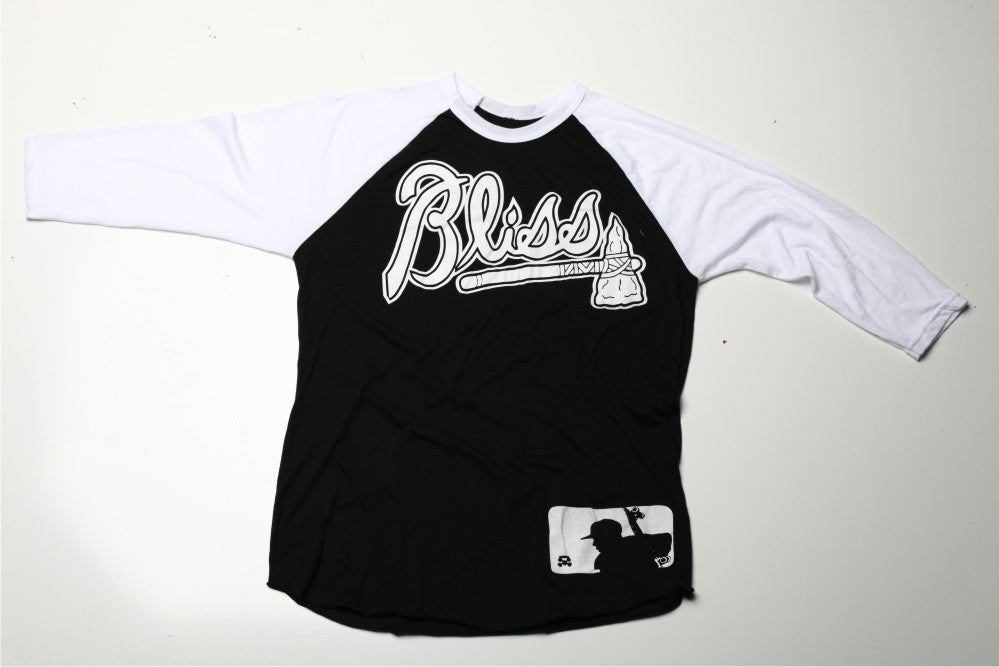 Image of Bliss Braves 3/4 Sleeve Raglan Tee (Black/White)