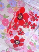 Image of Original 1970s Red Flowery Glass Jug