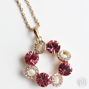 Image of Pink Flower Crystal Necklace