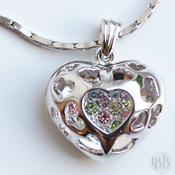 Image of Hollow Heart Crystal Necklace