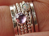 Image of Opal &amp; Amethyst Stackable Birthstones Mothers Rings - Personalized Rings