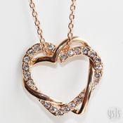 Image of Double Hearts Crystal Necklace