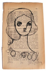 Image of Mari, Screen Print on Vintage Book Pages