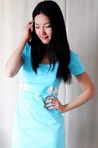Image of Aqua Blue T-Shirt Dress with Lace Cutout - S